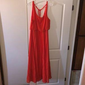 Bisou Bisou Coral maxi dress